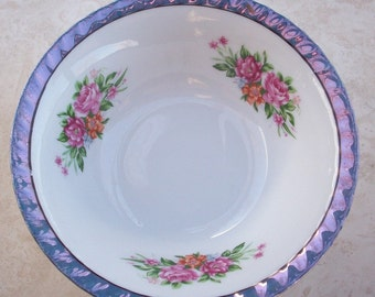 Yamatsu Bowl with Purple Lustre and Roses  Japan