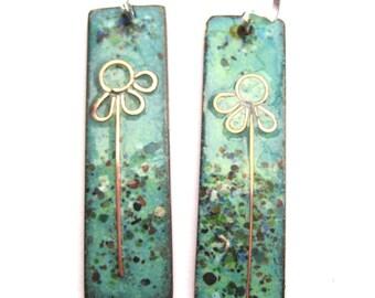 Green 'summer meadow' earrings