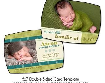 PSD Birth Announcement Card Template - CUTE BUNDLE 5x7