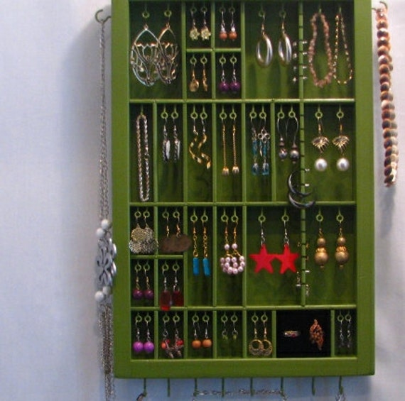 Printer drawer jewelry display with stud slots and ring cubby