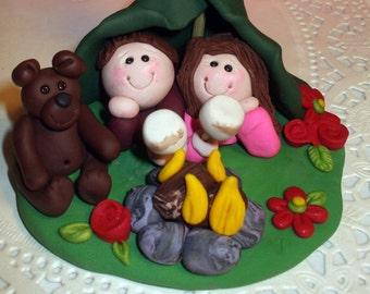 Wedding cake topper custom,  wedding cake topper bride and groom, in tent custom designed cake topper