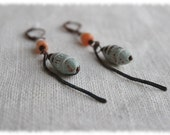 Rustic light blue clay bead earrings, primitive earrings