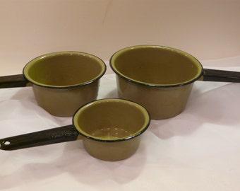 Avocado Green Enamel Ware Sauce Pans Vintage