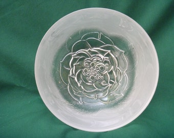 Pressed Glass Bowl Frosted Rose Crate Barrel 1980 Entertaining Dining Holidays