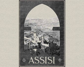 Italy Travel Artl Poster Assisi Italian Art Wall Decor Art Printable Digital Download for Iron on Transfer Fabric Pillows Tea Towels DT240