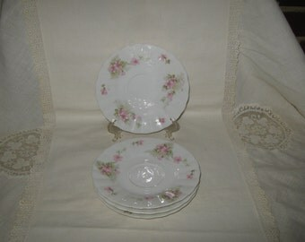 Limoges China Saucers Pink Flowers