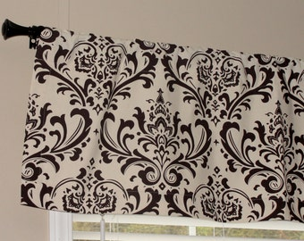 "Premier Prints Chocolate Brown and Natural (Cream) Damask Valance 50"" wide x 16"" long Lined with Cotton Muslin"