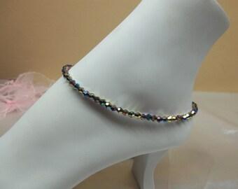 Black Rainbow Anklet Black Anklet Black Crystal Ankle Bracelet 100% 925 Sterling Silver Anklet BuyAny3+Get1 Free