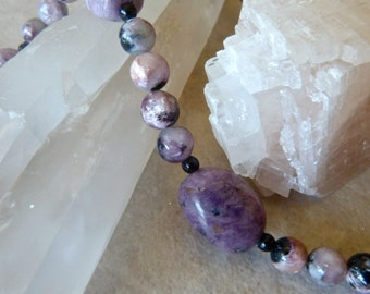 Purple Charoite and Black Onyx Beaded Elegant Artisan Necklace