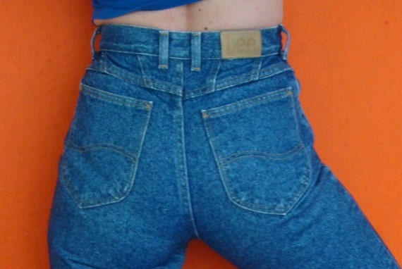 Vintage High Waisted Lee Jeans 80s Peg Leg Tapered Fit Long