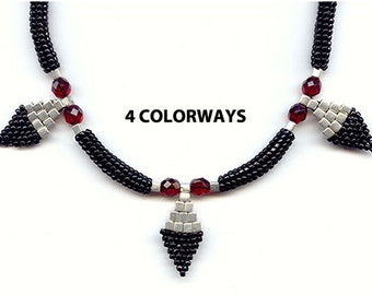 Bead Pattern & Beads, Necklace Bead Pattern, 4 Colorways