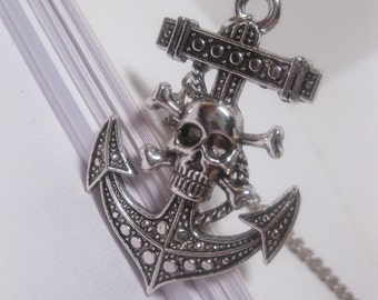 Skull And Bones Boat Anchor Pendant Necklace