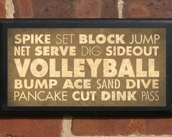 Volleyball Wall Art Sign Plaque Gift Present Home Decor Vintage Style Serve Dunk Dink Block Ace Sand Classic