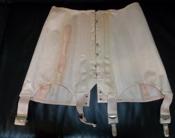 Mid Century Cotton Corset French Made...New Old Stock...Girdle...Pin Up...Fan Lacing..FREE SHIPPING