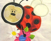 Ladybug Love Flower 02 Machine Applique Embroidery Design - 4x4, 5x7 & 6x8