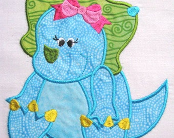 Girly Dinosaurs 05 Machine Applique Embroidery Design - 4x4, 5x7 & 6x8
