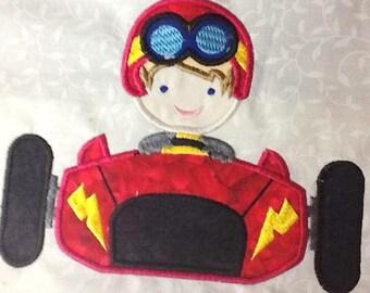 Race Car Boy Machine Applique Embroidery Design - 4x4, 5x7 & 6x8