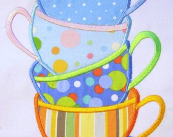 Tea Time 01 Machine Applique Embroidery Designs - 5x7 & 6x8