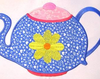 Tea Time 02 Machine Applique Embroidery Design - 5x7 & 6x8