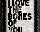 Steampunk Anatomy - I Love The Bones Of You -  Vintage Dictionary Print Vintage Book Print Page Art  Book Art