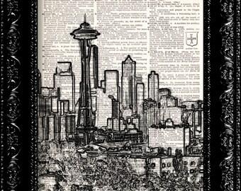 Seattle Skyline - Black and White -  Vintage Dictionary Print Vintage Book Print Page Art  Vintage Book Art