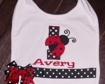 Boutique Ladybug Birthday bib only