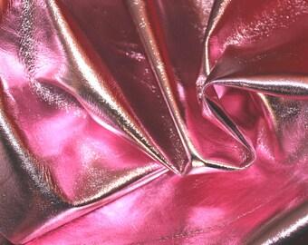 ITALIAN lambskin leather skin skins hide METALLIC PINK 7sqf