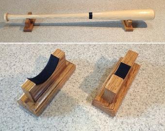 Horizontal Baseball bat holder DESKTOP display rack - Oak