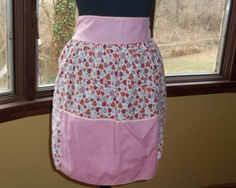 Handmade Mid Century Hearts Print and Pink and Coral Accents Valentine Apron