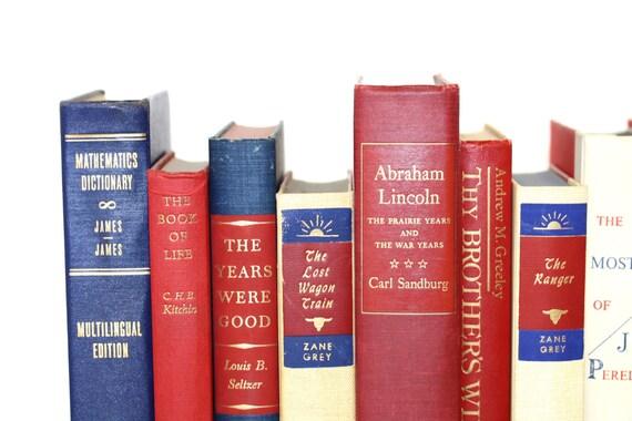RED & BLUE Decorative Vintage Book Collection  Home Decor Wedding Decor Office Decor