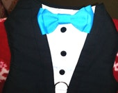 TUXEDO Dog Harness Velcro Black with Turquoise Bow Tie - XXXL (3XL) Size Listing