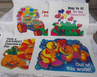 Valentine Posters Set of 4 Troll 1985 Laminated Paper Ephemera US Shipping Included