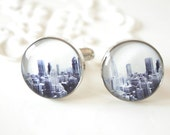 New York City Skyline Cufflinks - black and white NYC vintage photograph accessories for men