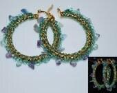 Beaded Wire Crocheted Hoop Earrings, Colored Wire Crochet Earring, Beaded Earrings, Crochet Wire Jewelry, Fluorite, Sea Blue