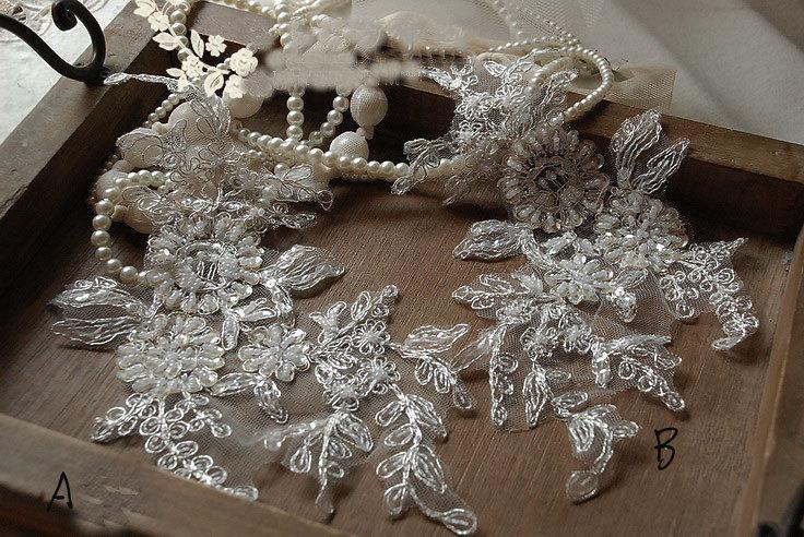 Bridal headpiece bridal flower alencon lace trim applique for Wedding dress trim beading