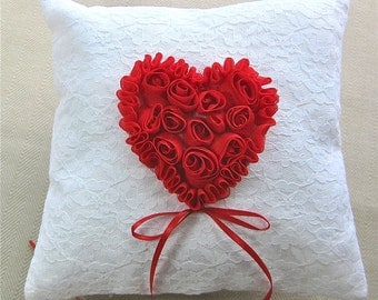 Red Rose Heart Ring Bearer Pillow on White Lace, White Lace Ring Pillow, Valentine's Day