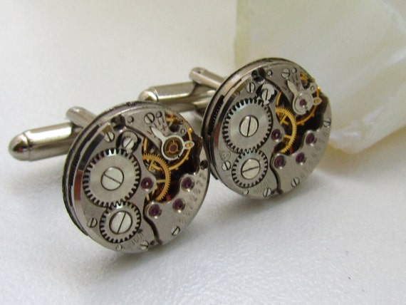 Steampunk Cufflinks with the smallest vintage watch movements. Mens gears, Vintage upcycled mens Cuff Links, Gift under 25 Dollars