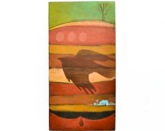 black crow, raven, barn farm abstract landscape, painting on wood, wood wall art,  by Elizabeth Rosen