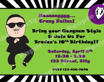 Personalized DIY Gangnam Style Birthday Party Invitation - Boy, Girl, Green, Purple, Black