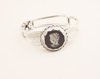 Sarah Coventry Bangle Cuff bracelet with Large Black Cameo, UK Seller