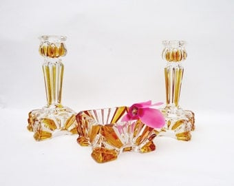 Vintage Art Deco Trinket dish/box and 2 Candle Holders, Rich Amber and Clear Glass Set, UK Seller