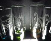 The Dragons 4 2oz shot glasses