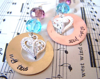 Mother's day Gift MIxed Metal Open Washer Soul Mate Earrings, Wife Earrings, My Love Hand Stamped Gift Idea for Her