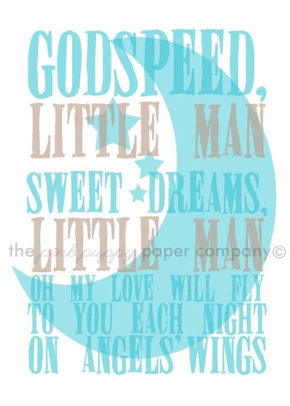 Sweet Dreams, Little Man 5x7 nursery print (you choose your colors)