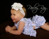 Parley Ray Easter Bunny Spring Pinafore Dress with Ruffled Baby Bloomers/ Diaper Cover / Photo Prop