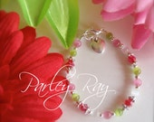 Beautiful Parley Ray Strawberry Baby Girls Bracelet Cat Eye beads, Crystals and Heart Charm
