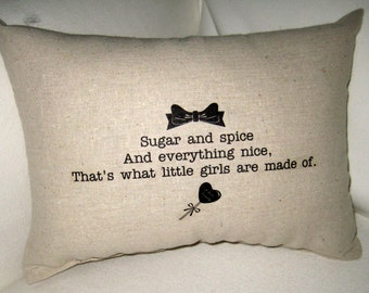 Sugar and Spice Pillow, Baby Room Typography Cushion, Shower Gift, Baby Girl, Shabby Chic, Ivory Affordable Home Decor, Words,