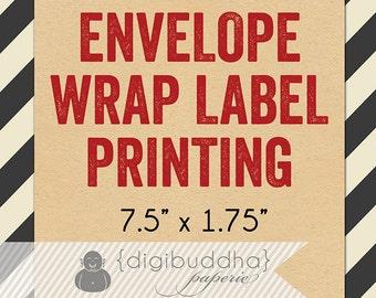 Envelope WRAP LABEL PRINTING for any digibuddha Envelope Wrap Address Labels Bridal Baby Shower Wedding