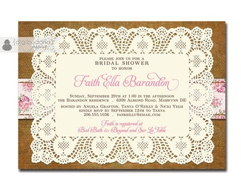 Boho Chic Bridal Shower Invitation Shabby Chic Lace Burlap Rose Floral Rustic Doily Roses Invite DIY Digital or Printed - Faith Collection