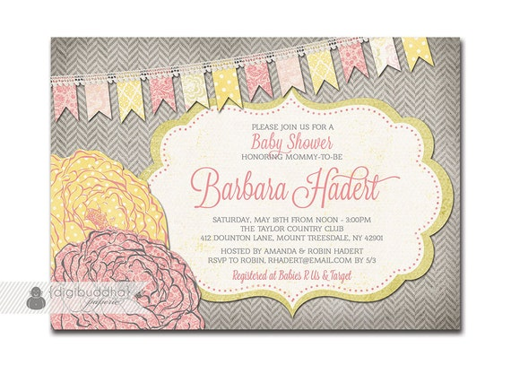 baby shower invitation pink  yellow baby girl rose flower, Baby shower
